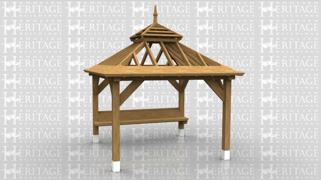 An oak framed gazebo for the Chelsea Flower Show
