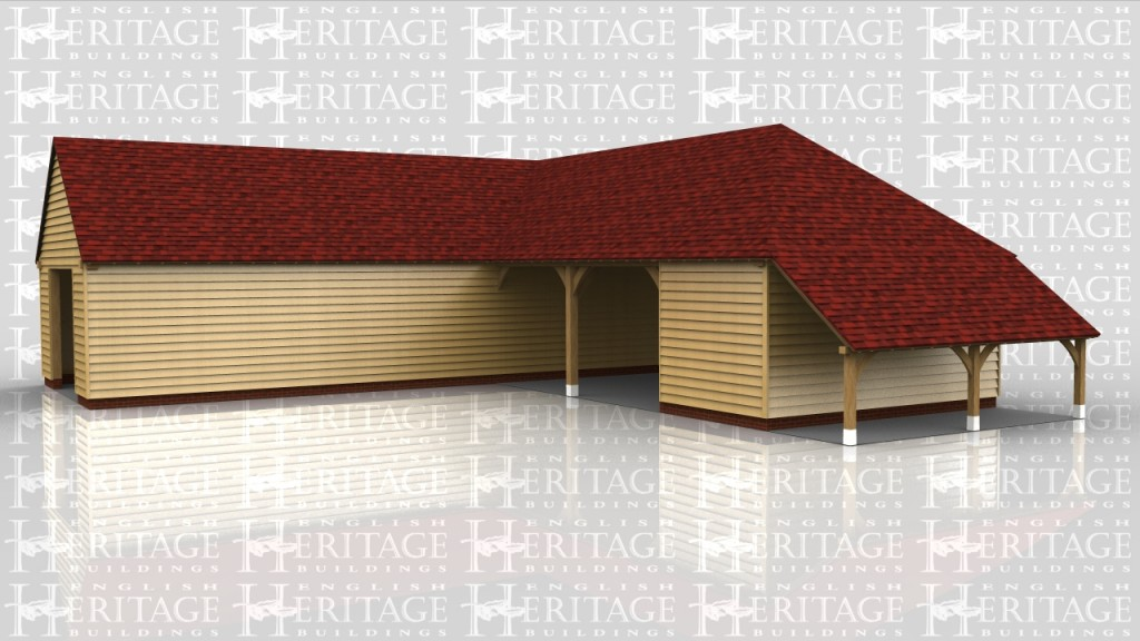 An L-shaped complex with a long single garage with another 2 car spaces and an enclosed bay for a workshop or storeroom