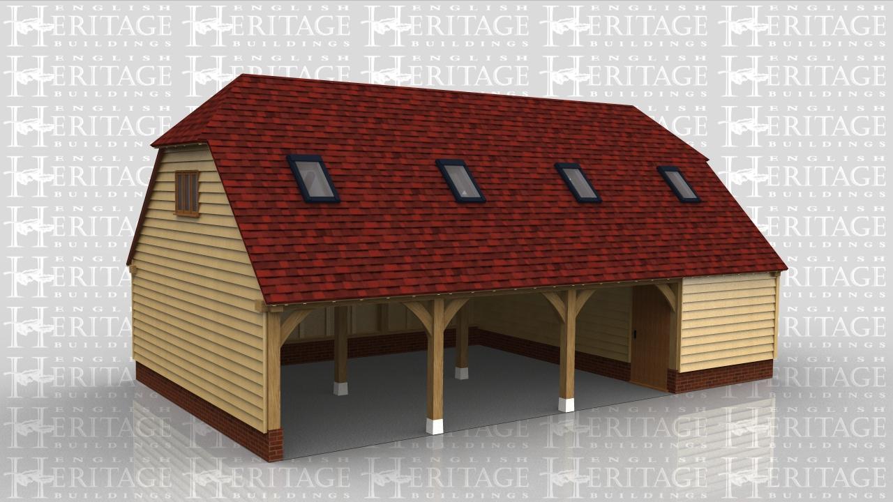 4 bay garage 2 floors 3 open bays ws00026 for Due bay garage