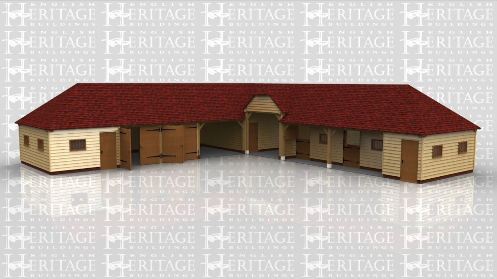 Stable and garage complex consisting of 2 stables, tack room, two enclosed garage bays with a further one open garage bay and 2 large storage areas and a drive through.