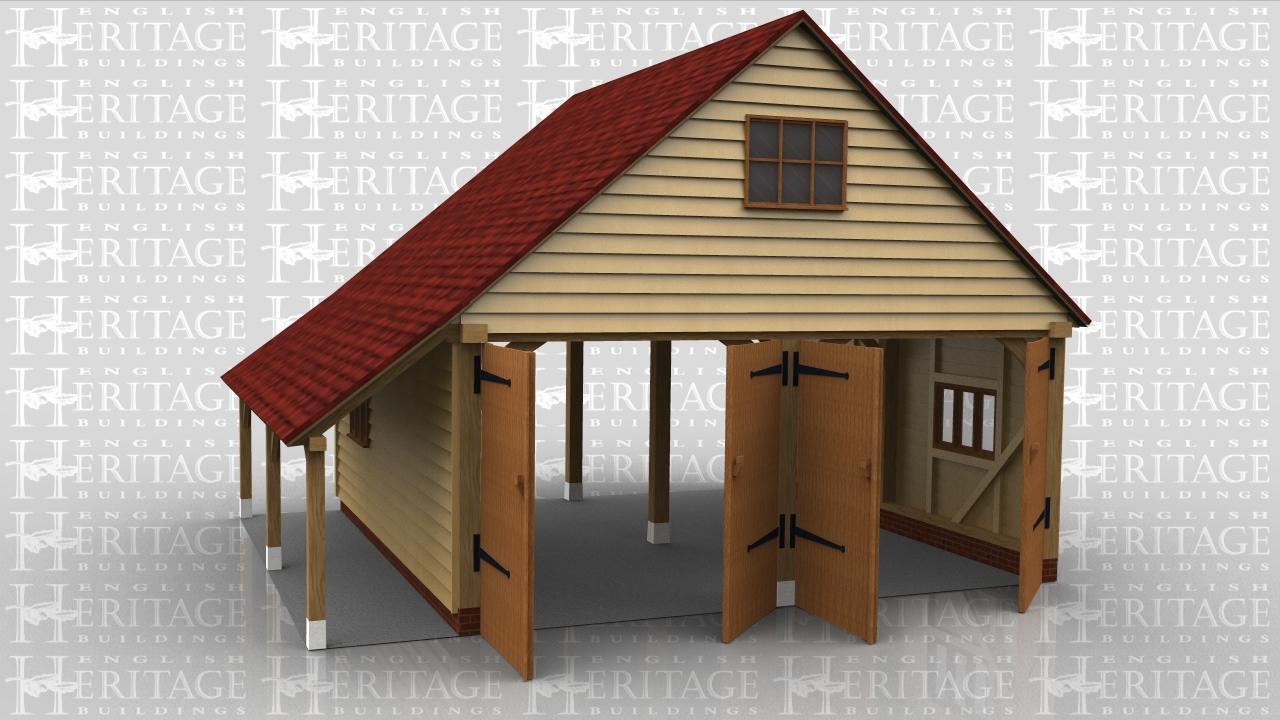 2 bay garage extension 2 pairs of garage doors log for Two bay garage