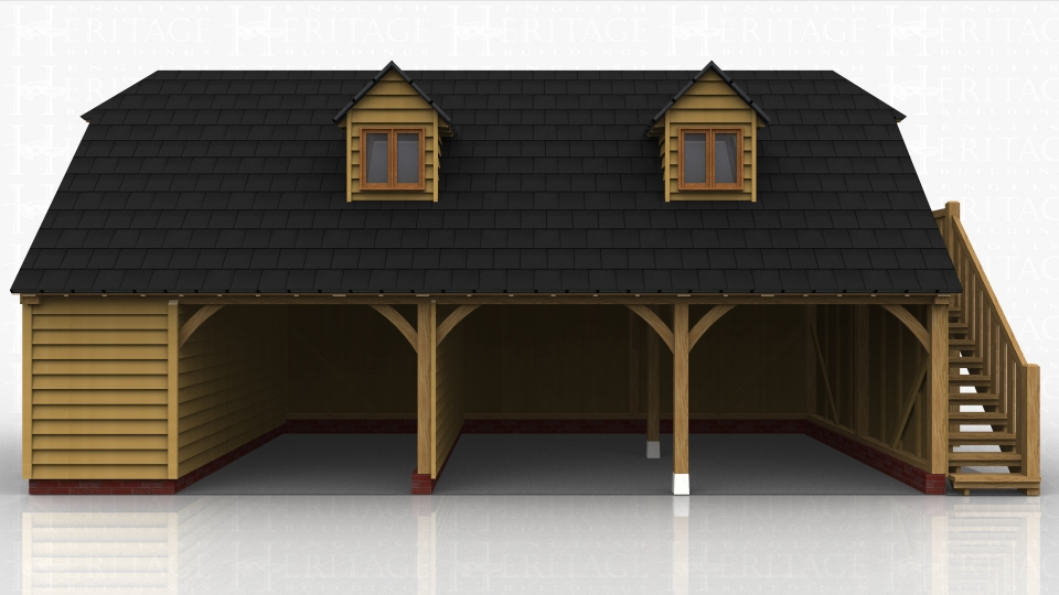 This oak framed two storey garage has three open bays and one enclosed bay, with an open logstore to the rear. The enclosed bay is accessed via a single door to the rear. There is an external oak staircase on the right hand side and the first floor is accessed by a half glazed door. There are two dormers to the front, each with a two pane window.
