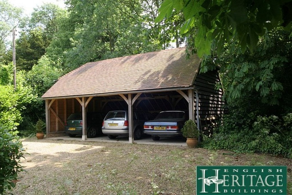 three bay oak framed garage