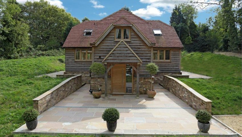 Timber frame home manufactured from Green Oak