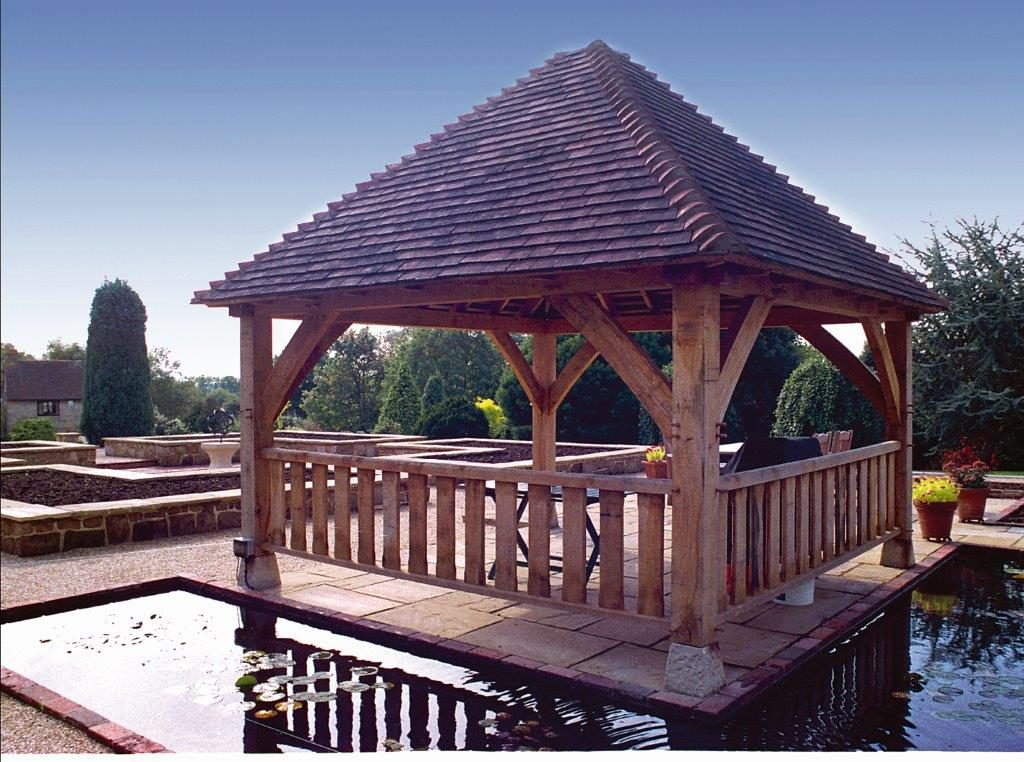 Rear of Oak Frame Gazebo with Railings