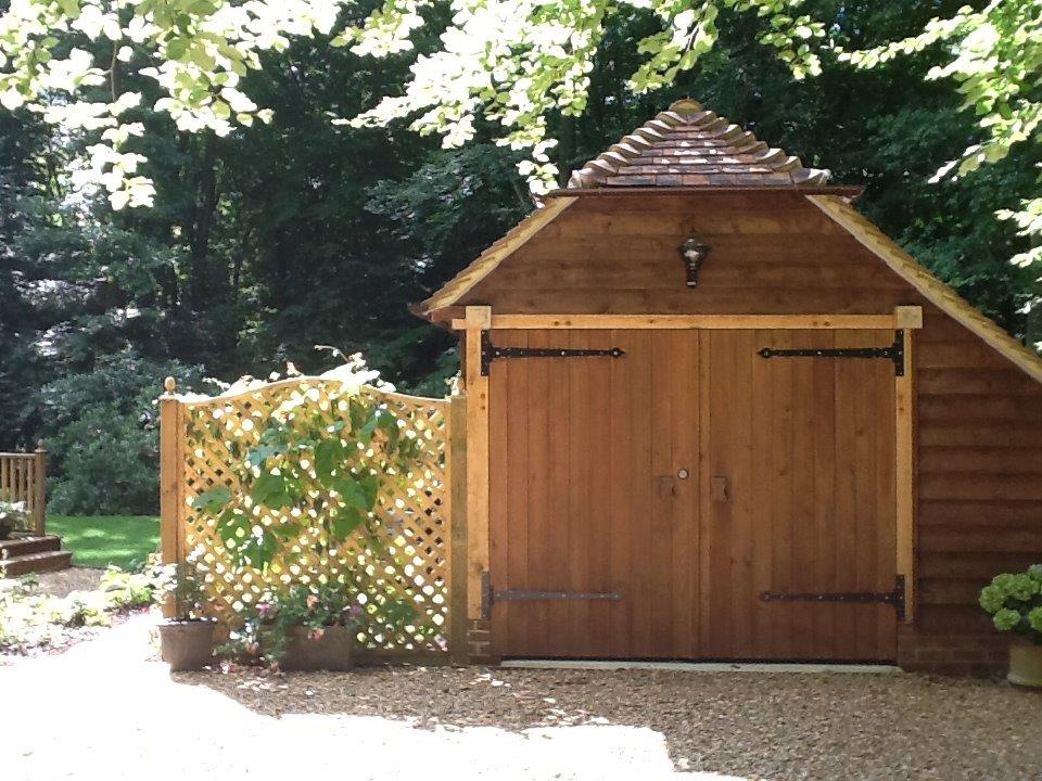 one bay oak framed garage with room above